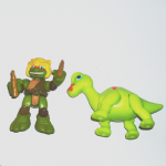 Half Shell Heroes Teenage mutant ninja turtles Mikey and Brachiosaurus